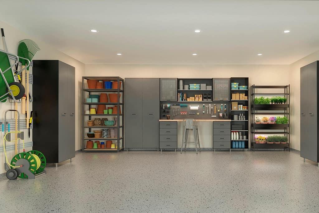 organized shelves garage